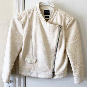 Armani Exchange Faux Leather Zip Up Jacket.